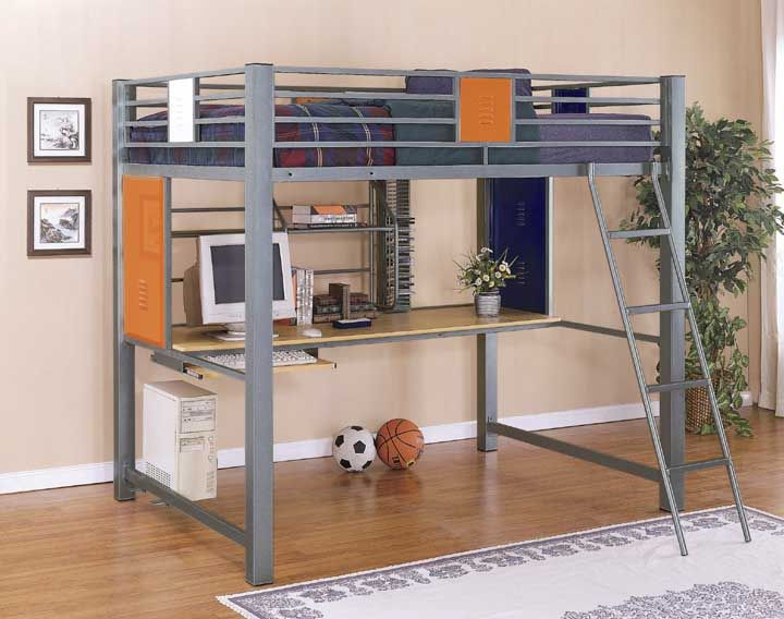loft beds for teen boys Full size loft bunk bed with builtin