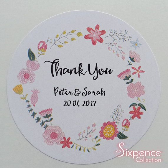 48 x White Gloss Personalised Floral Thank You Envelope or
