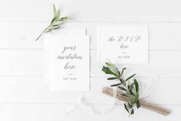Wedding invitation suite mock up by White Hart Design Co. on @creativemarket