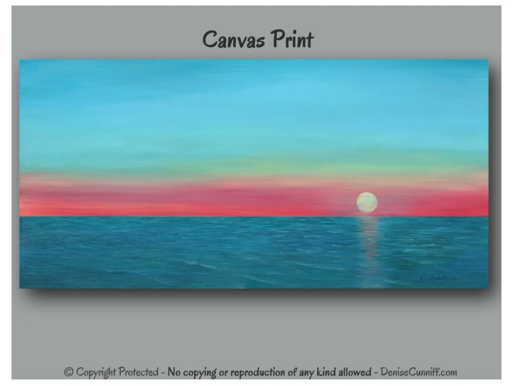 Large wall art panoramic sunset painting canvas print turquoise