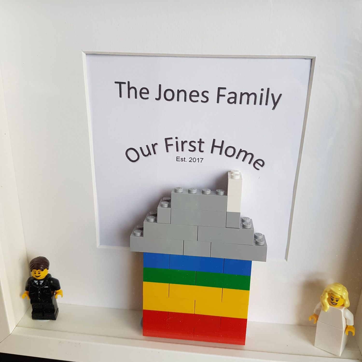 Handmade Frame, Gift Idea, Lego House, Minifigures, Family,New Home ...