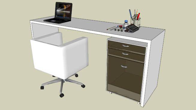 mesa de escritorio com cadeira e mesa para arquivo de rodinha