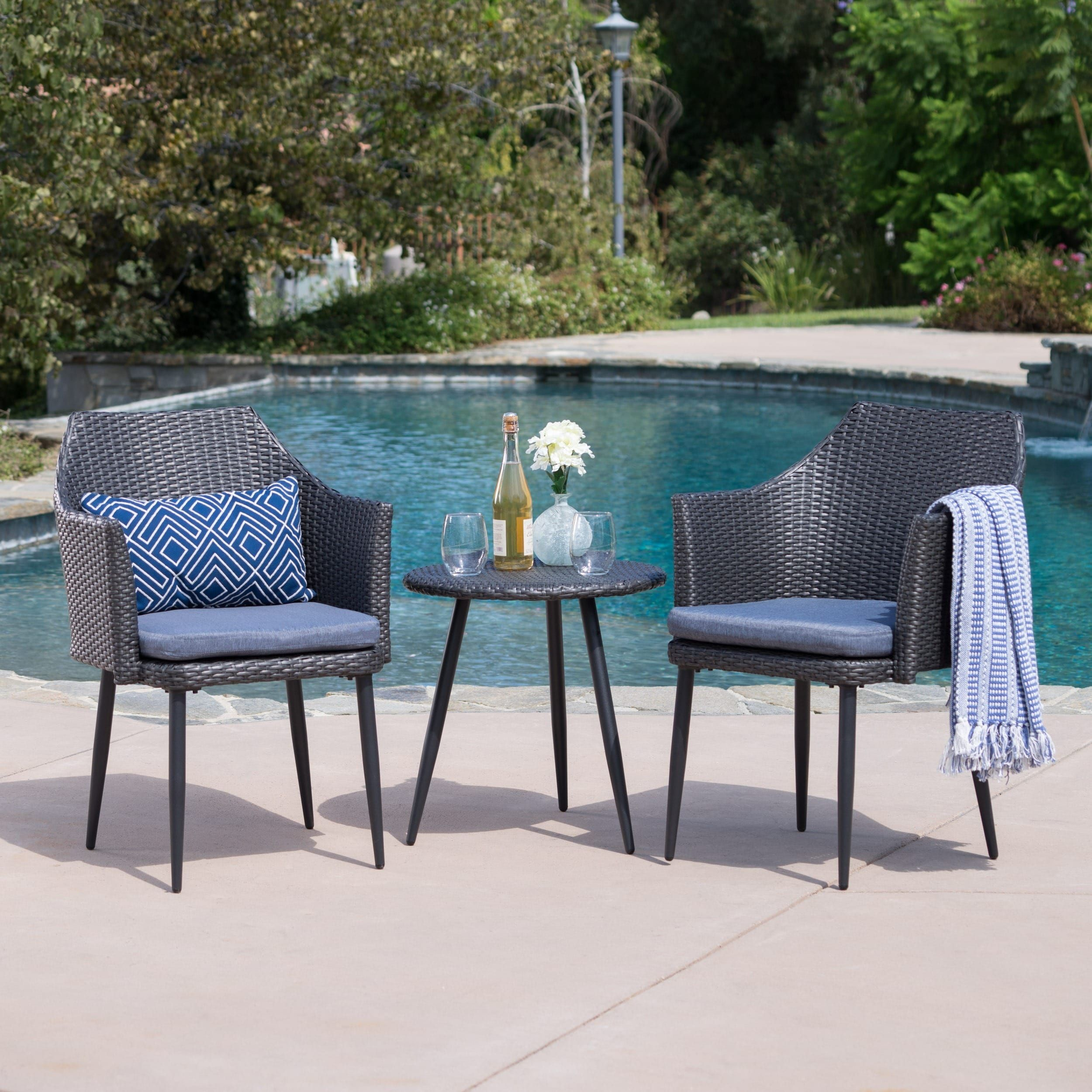 Iona outdoor piece round wicker chat set with cushions by