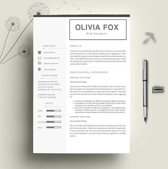 Pages Templates Resume Cv Template 2 Pages Creativework247  Resume Templates  Business .