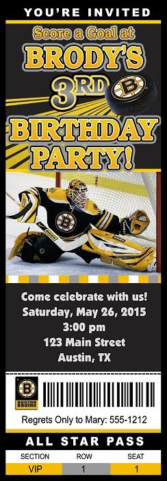 Custom Printable Hockey Birthday Party Invitations Ticket Design