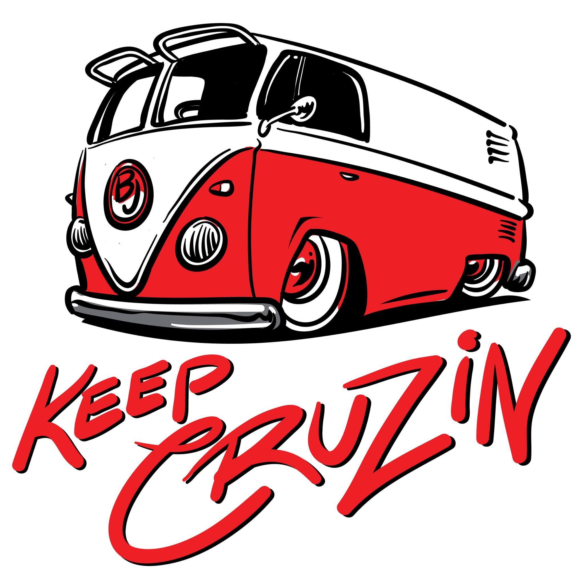 Sticker keep cruzin red splitty vw coolvwstuff bus volkswagen