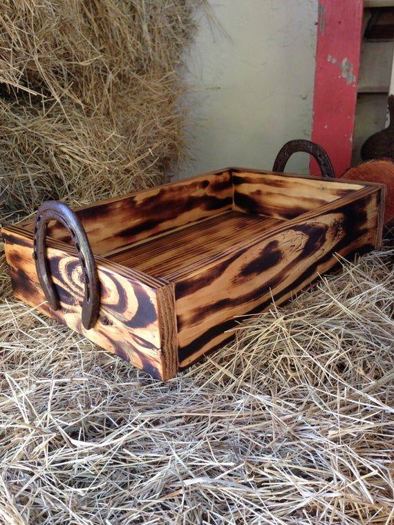 Wood box with horseshoe handles. Western decor cowboy decor horseshoe decor equine horses