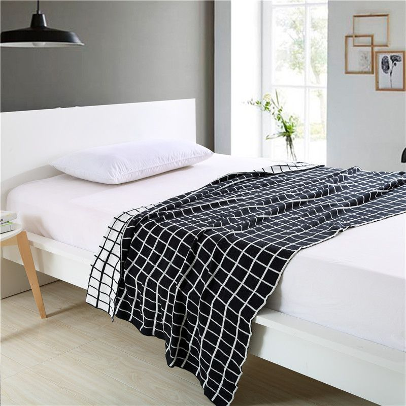 Cozzy Black and White Plaids Check 100% Cotton Knitted Throw Couch ...
