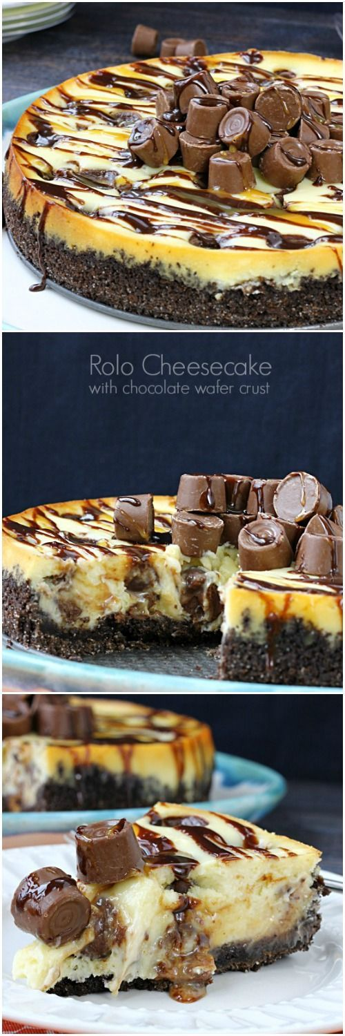 Rolo Cheesecake with chocolate crust