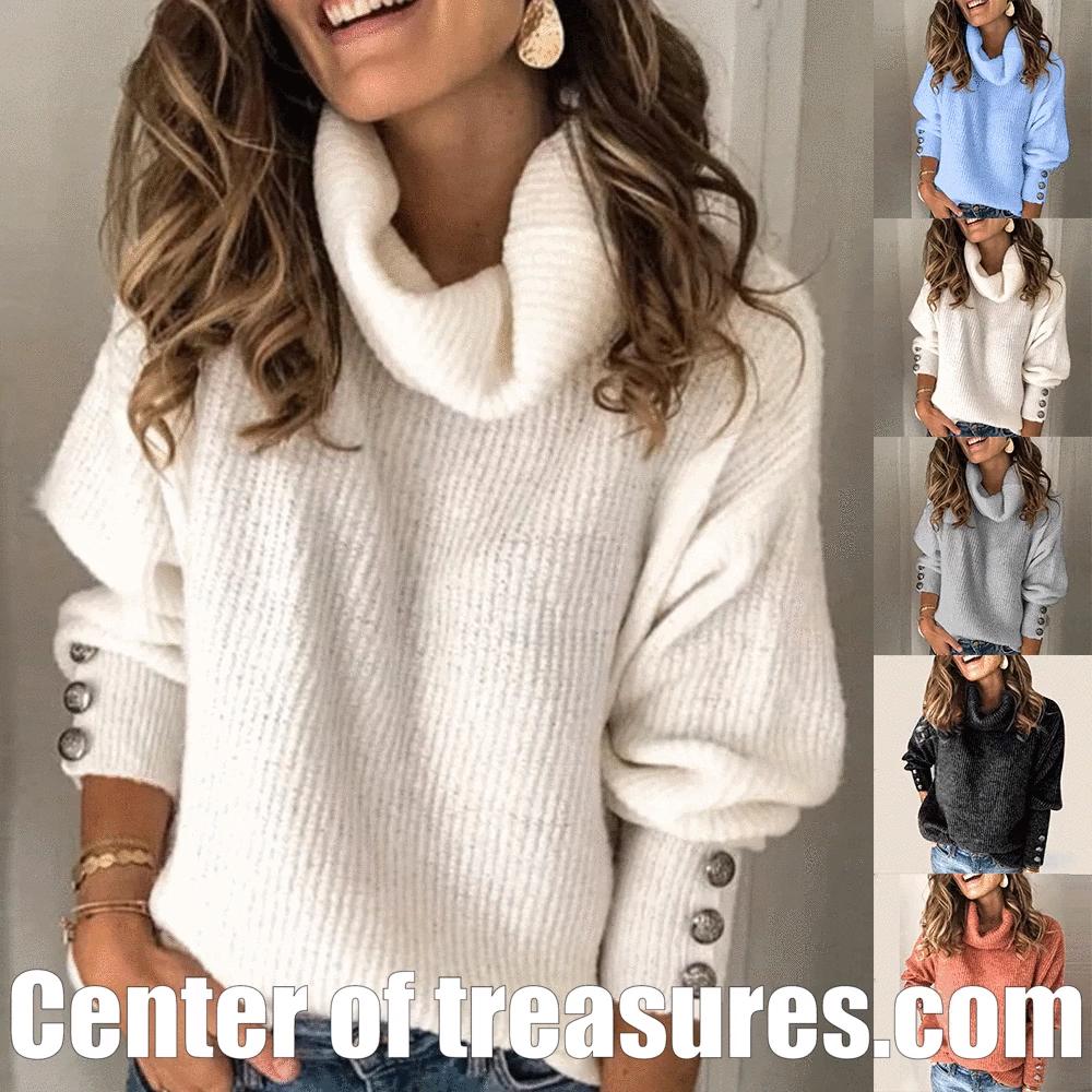 Photo of Plus Size Long Sleeve Plain Casual Sweater Womens Turtleneck