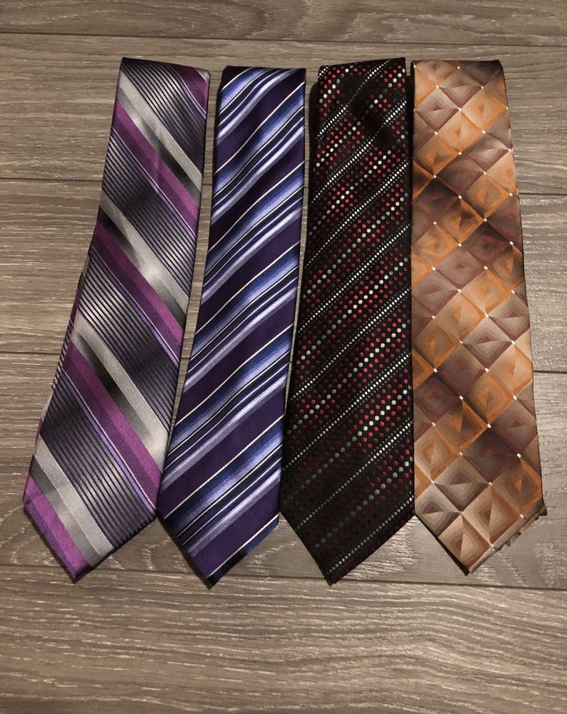 1607047098 4pc Classic Mens Ties 2 Geoffrey Benne 1 Van Heusen And John Ashford ...