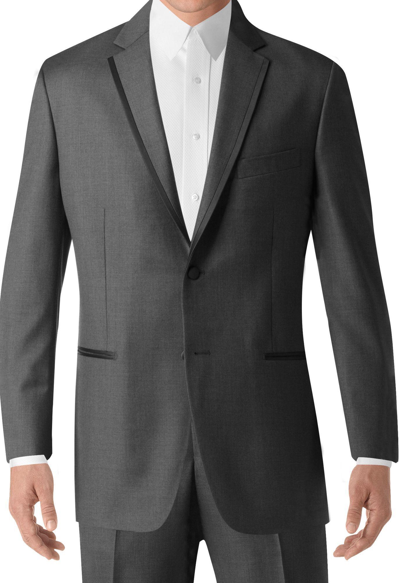 BLACK By Vera Wang Black Notch Lapel Tux Grey suit