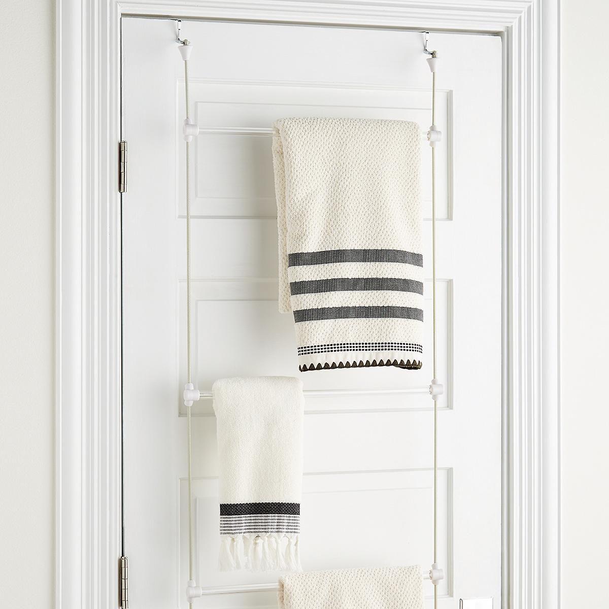 Umbra Bungee Over The Door Towel Rack With Images Small Bathroom Storage Bathroom Organisation Bathroom Storage Organization