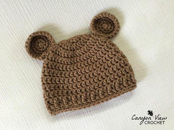 c841cfde18d Baby Bear Hat Crochet Boy Girl Optional Bow Crochet Bear Hat Bear Beanie  Teddy Bear Infant Toddler Newborn Photography Prop Baby Shower Gift