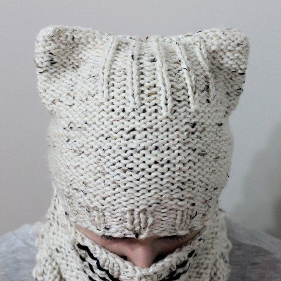 Knitting pattern, Patron tricot, PDF, Cody CAT SET/ Set hat+cowl ...