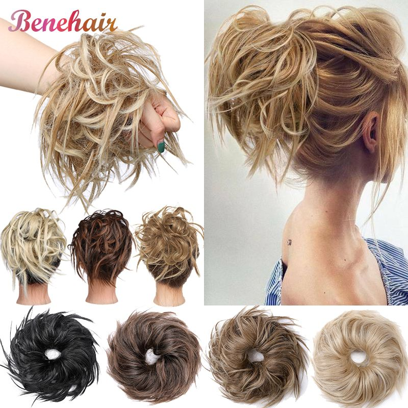US $4.35 22% OFF|BENEHAIR Messy Bun Hair Piece Scrunchy Hair Bun Women Chignon Synthetic Hair Extension For Women Hair Band Donut Wrap Ponytail|Synthetic Chignon|Hair Extensions & Wigs - AliExpress