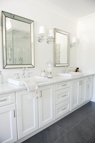White Bathroom Decor. Double sink all white bathroom decor  http www stylemepretty com Giving an Outdated Bathroom a Stunning and Timeless Makeover