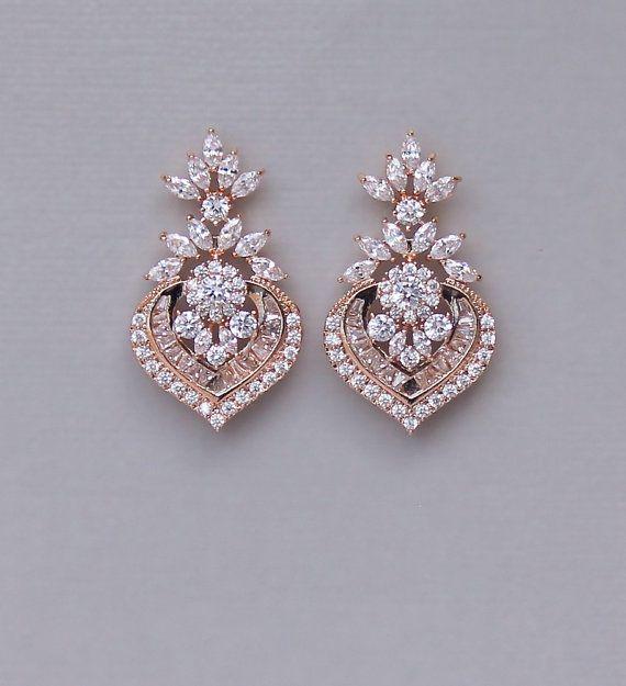 Bridal Earrings Rose Gold Earrings Rose Gold Wedding Jewelry