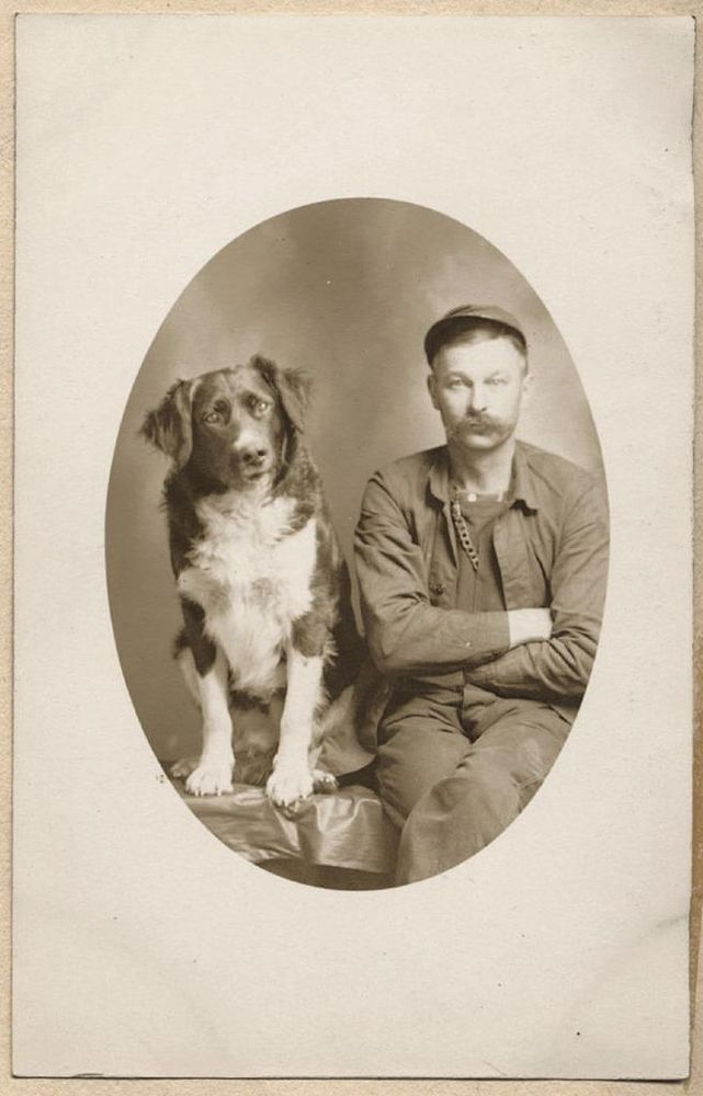 MOUSTACHE MAN with BEST FRIEND PET DOG in WHIMSICAL STUDIO PORTRAIT photo RPPC