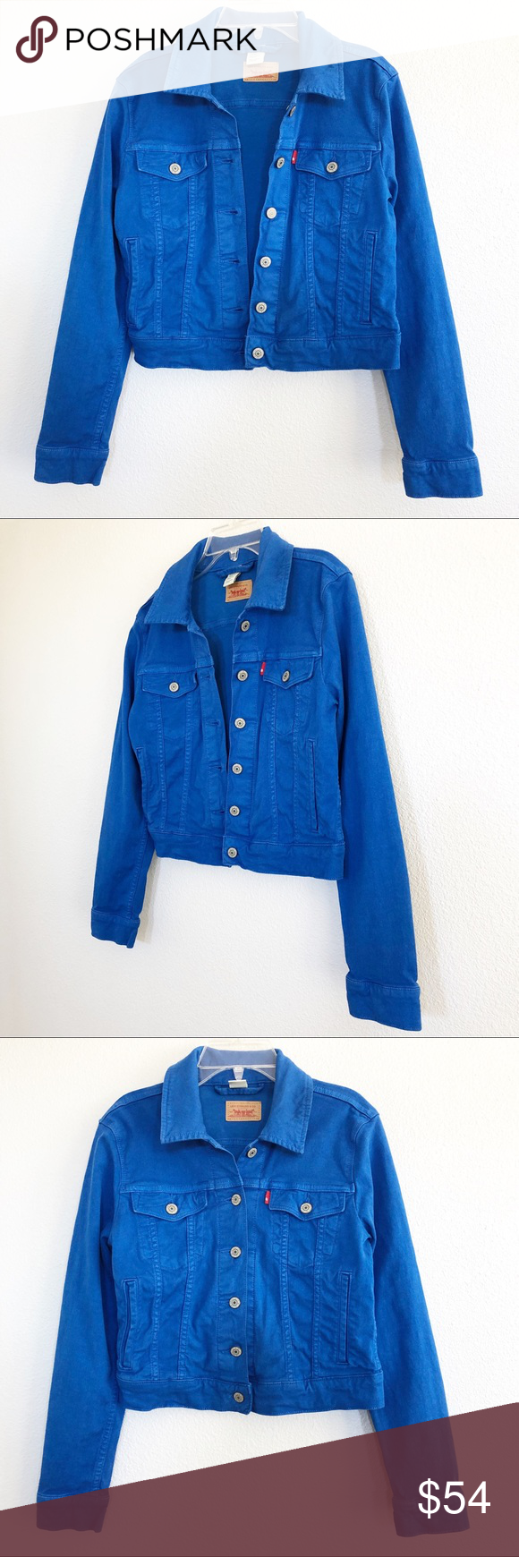 Levi S Royal Blue Crop Jean Jacket Sz Small Levi S Royal Blue Crop Jean Jacket Sz Small Pre Owned In Excellent Condition This Trendy Crop Jacket Pairs Well W [ 1740 x 580 Pixel ]