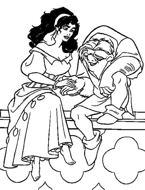 Esmeralda Holding Hands Quasimodo Disney Coloring PagesHolding