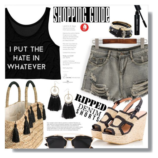 """""""Ripped Denim Shorts"""" by queenvirgo on Polyvore featuring WithChic, Christian Dior, Robert Clergerie, Bobbi Brown Cosmetics, New Look and Miss Selfridge"""