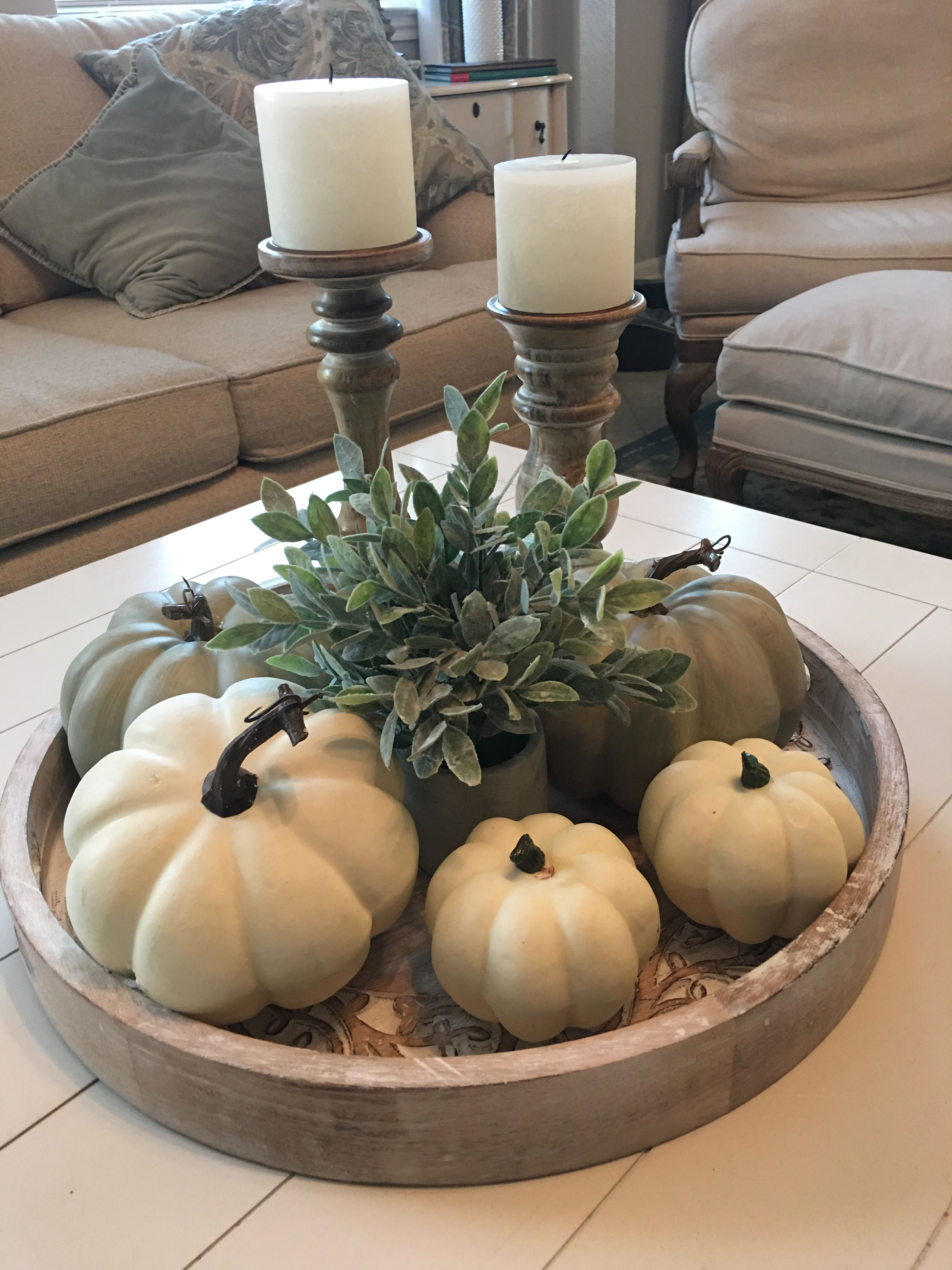 Easy Fall Decor Coffee Table Centerpiece Idea With White Pumpkins