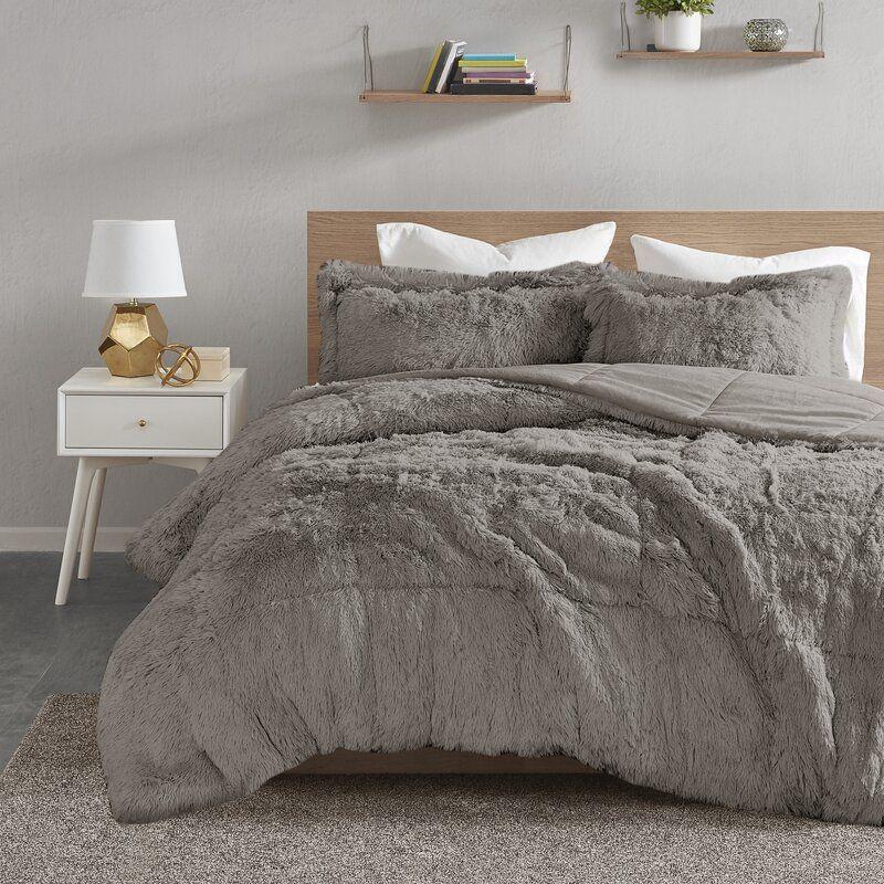 Trahan Shaggy Comforter Set in 2020 Bedroom comforter