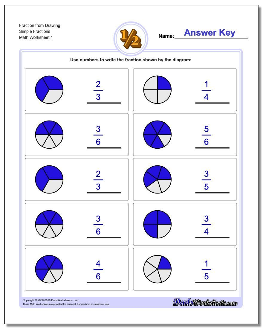 Worksheets For Drawing Fractions Math Gradeschool Elementarymath Printables Mathprintables Mathworksheet Fractions Worksheets Fractions Simple Fractions