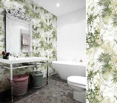 Papier peint salle de bain spécial douche et murs Decoration