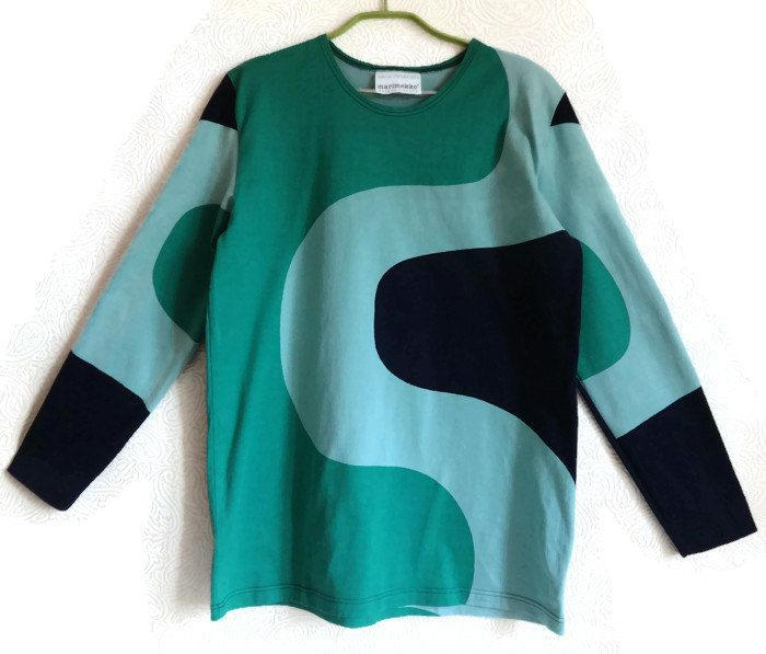 MARIMEKKO Abstract Print Shirt Top Dark blue& Green Shirt Clothing By Marimekko Long Sleeves Cotton Shirt Finnish Clothing Comfortable Top by Vintageby2sisters on Etsy