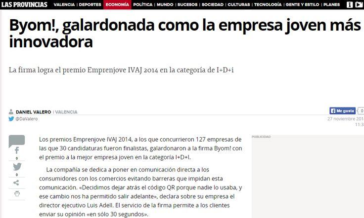 Byom!, galardonada como la empresa joven más innovadora  http://www.lasprovincias.es/economia/empresas/201411/27/byom-galardonada-como-empresa-20141127113540.html