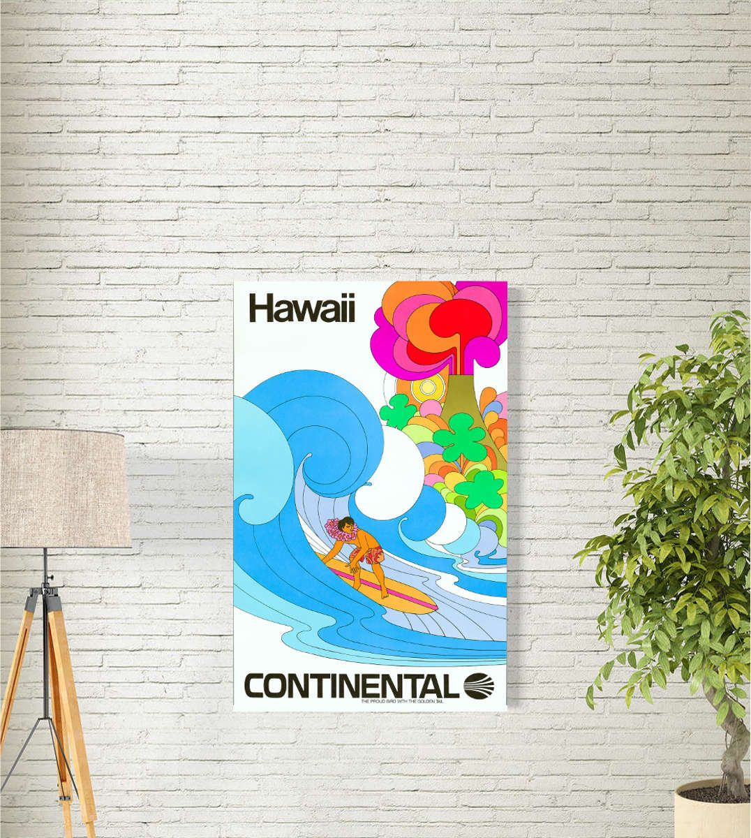 Travel Poster Hawaii Continental Airlines 1969 Travel Wall