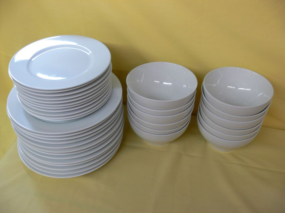 34 PieceWhite IKEA 365+ DINNER PLATES SALAD PLATES and BOWLS Susan Pryke 16597 #Ikea & 34 Piece White IKEA 365+ DINNER PLATES SALAD PLATES and BOWLS Susan ...