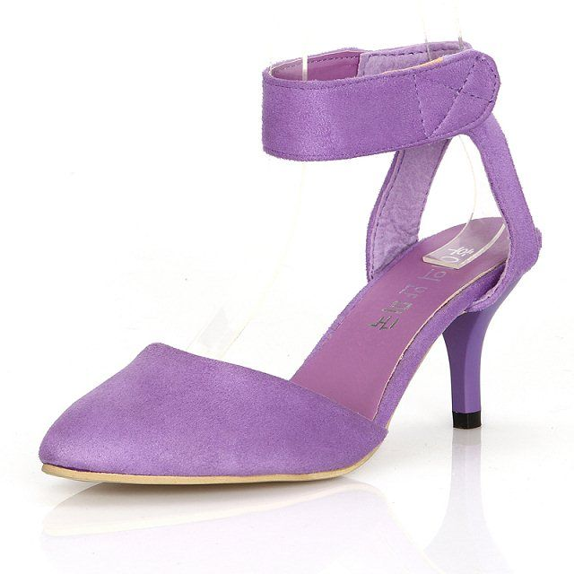 Womens Shoes Slim High Heels Ankle Strap Velcro Suede Leather Angle Toe Sandals Shoes T782Z
