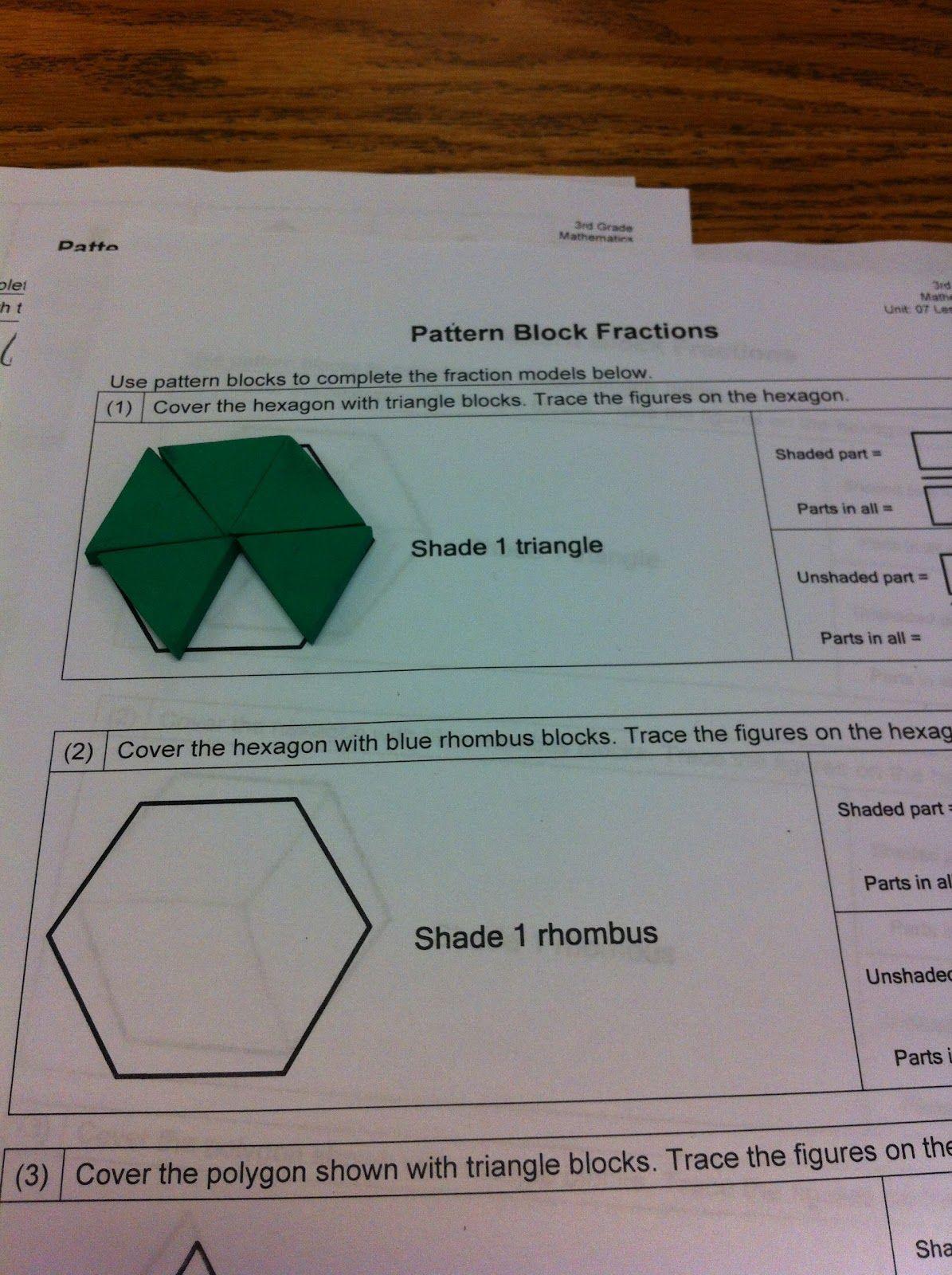 fraction pattern block worksheet - Google Search | 3rd Grade ...
