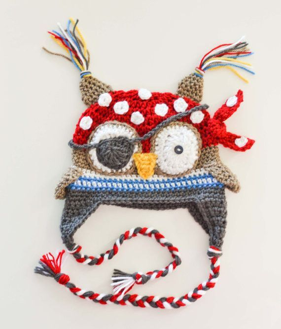 Boy\'s Handmade Crochet Hat Owl Pirate Eye Patch Red Polka Dot ...
