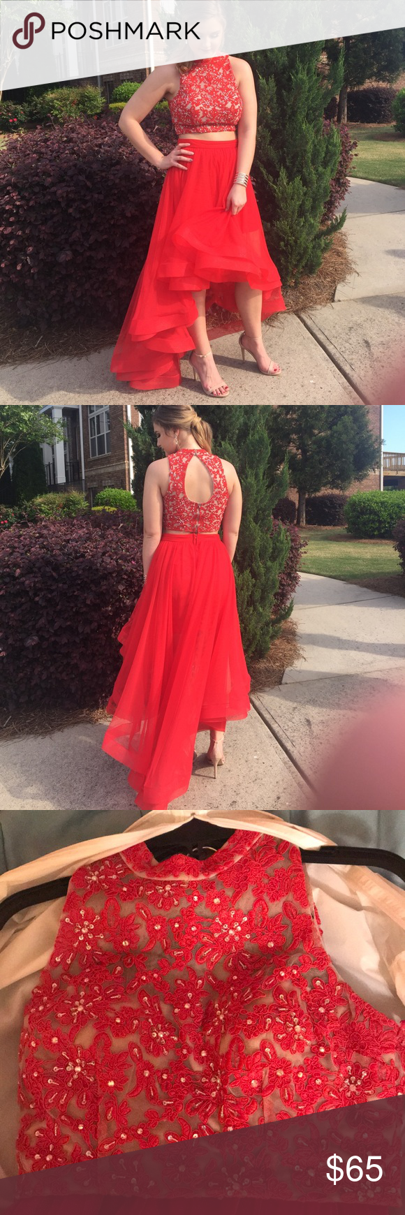 Red piece prom dress