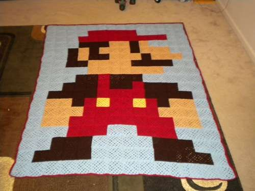 Super Mario blanket from crocheted granny squares.