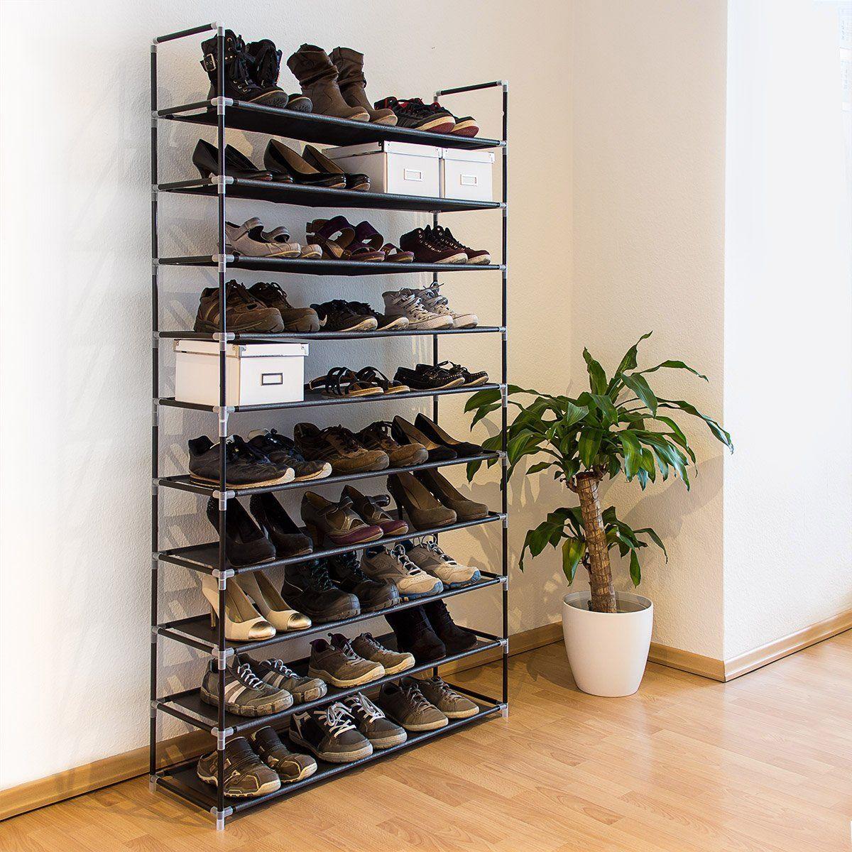 Relaxdays Schuhregal XXL H x B x T: ca. 175,5 x 100 x 29 cm Schuhablage für 50 Paar Schuhe Schuhschrank mit 10 Ebenen aus Stoff und Metall erweiterbarer Schuhständer für großen Stauraum, schwarz
