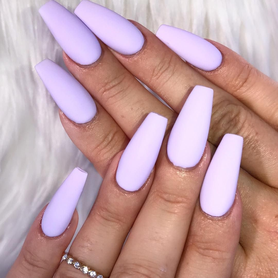 Some Colors Were Just Meant To Be Matte Inspired By Victoriaoliviaxo Nailie Nelfie Nailinspo Amazi Purple Acrylic Nails Purple Nails Plain Nails