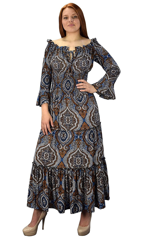1a9ba0342e Blue Brown Gypsy Boho Cap Sleeves Smocked Waist Tiered Renaissance ...
