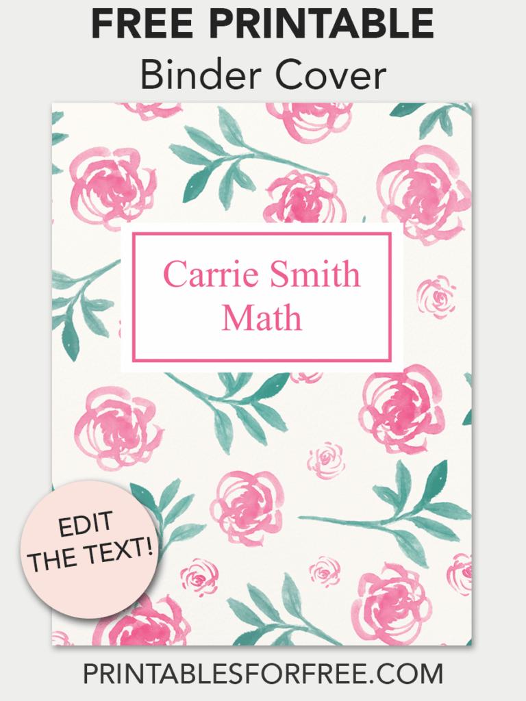 floral printable binder cover free printables free printable