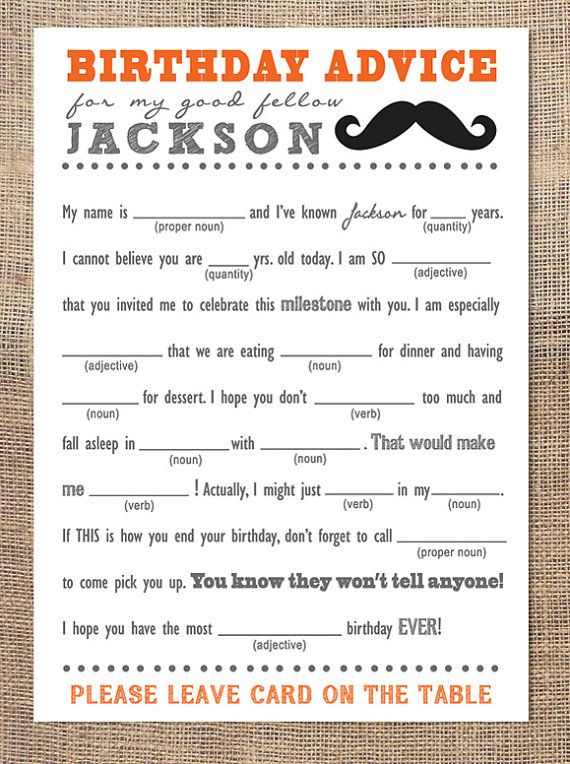 Birthday Advice Card Mad Libs Mustache Dads 70th Bday Party