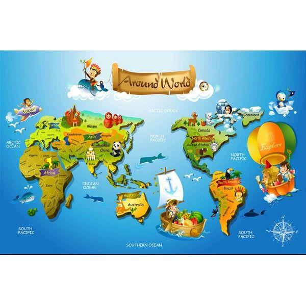 Papier peint trompe l 39 oeil effet 3d personnalis chambre enfant carte du monde papier peint - Trompe l oeil chambre ...