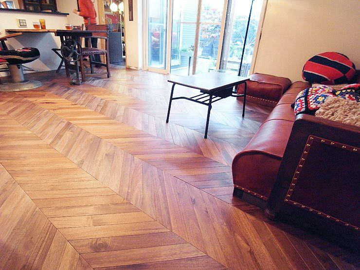アカシア無垢フローリング #Acacia #Herringbone #Flooring