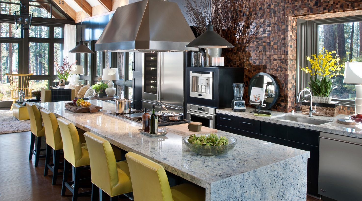 Uncategorized Hgtv Dream Kitchen Designs kitchen island vert hardwood flooring by lumber liquidators with serving space for a crowd this in the 2014 hgtv dream home is clad waterfall style durable granite on sid