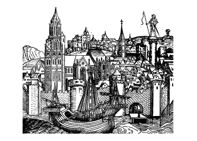 Free Coloring Page Coloring-medieval-7. Paris (France) In