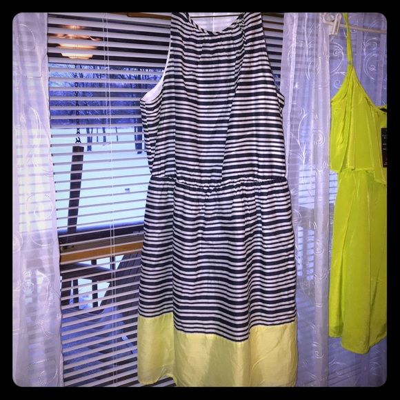 Nautical Sun Dress Old Navy, worn once, light material Navy and white striped with neon yellow detail on bottom, size Large. Old Navy Dresses
