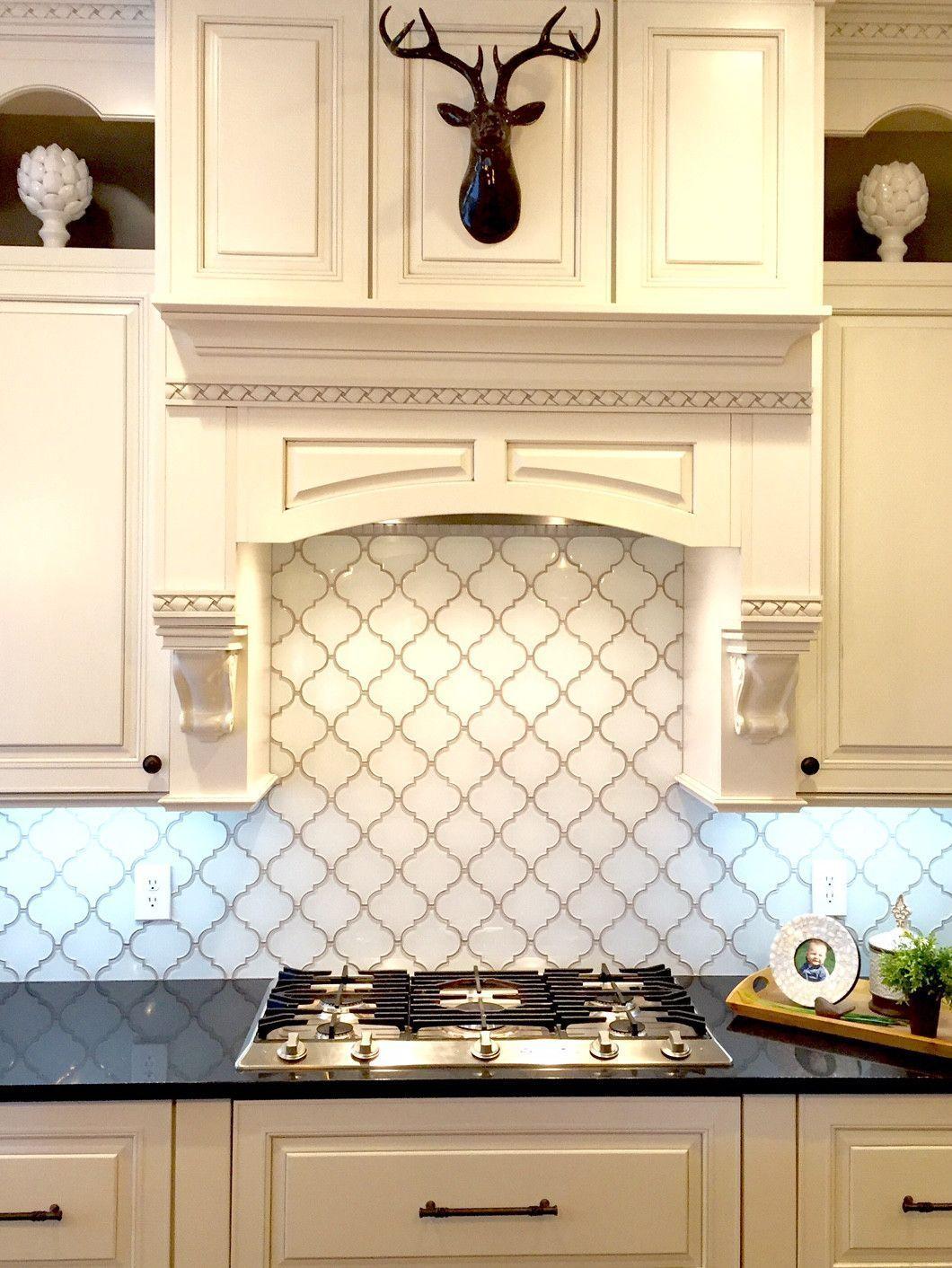 - Snow White Arabesque Glass Mosaic Tiles Rustic Kitchen Cabinets